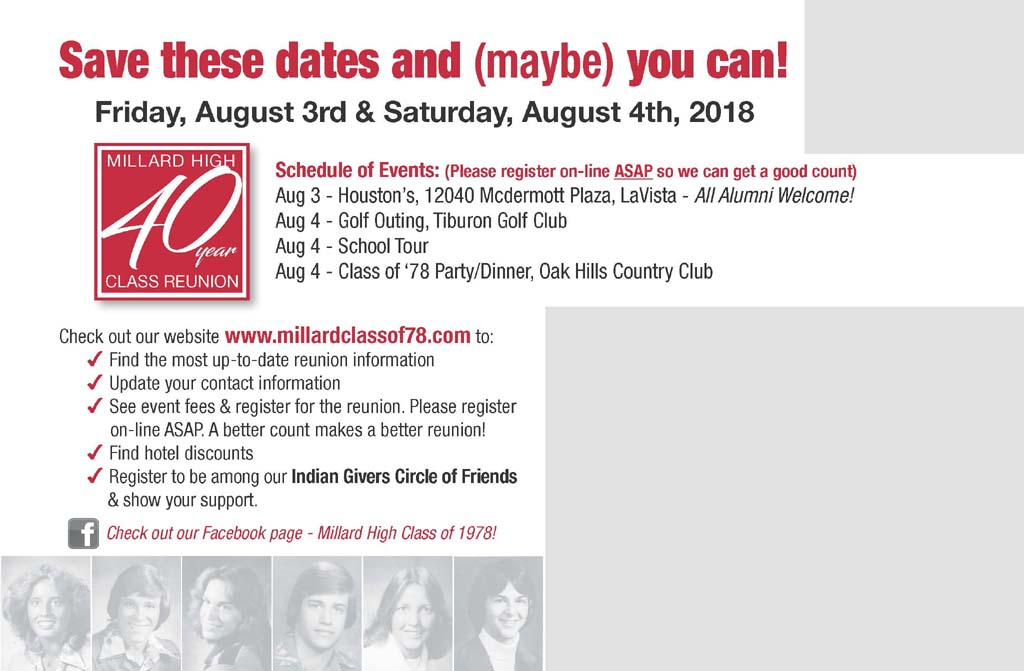 Millard High, 40 Year Class Reunion. August 3 & 4, 2018